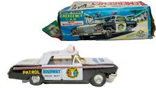 VINTAGE JAPANESE 1960'S TIN FRICTION CADILLAC HWY PATROL CAR W/ ORIGINAL BOX
