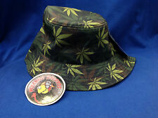 Light Green/Green/Brown Weed Printed Black Full-Brim Bucket Hat ONE SIZE Piranha
