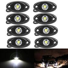 8pcs White 3-CREE 9W High Power LED Rock Light Kit Jeep Truck SUV Off-Road Boat