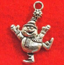 50Pcs. WHOLESALE Tibetan Silver SNOWMAN Christmas Charms Pendants Drops Q0530