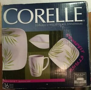 Corelle Square Bamboo Leaf 16 piece Dinnerware Set Dishes New NIB