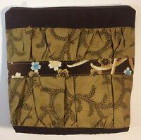 "Zipper Bag Brown & Olive Asian Fabric Handmade 9""X9""X2"