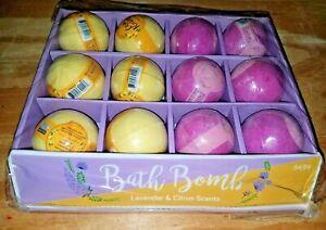 Lot 12 Bath Essence Fizzy Bath Bombs Citrus Recharge & Lavender Escape 3 oz Gift
