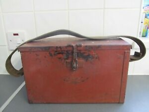 Vintage Metal Strap Tool Box 33cms Solid 50's 60's UNUSUAL RARE