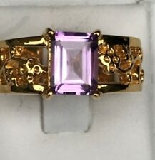 Ring Size P Vibrant Pink Amethyst 18K Vermeil Gold Over 925 S/S