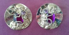 vintage pair clip on earrings faux purple/pink stone jewelry goldtone large