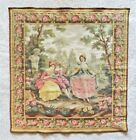 Antique 19th c. French Aubusson Wall Tapestry Romantic Verdure Ladies Gentleman