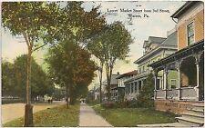 Lower Market Street From 3rd Street in Warren PA Postcard 1909