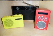 3 DAB+ Radios AEG DAB 4124, Plus-Radio Gelb und Denver DAB-43 Rot