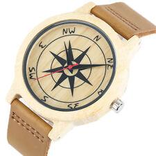 Wooden Bamboo Watch Compass Genuine Leather Brown Quartz Unisex Wristwatch