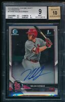 NOLAN GORMAN AUTO 2018 1st Bowman Draft Chrome Autograph Rookie RC BGS 9/10 MINT