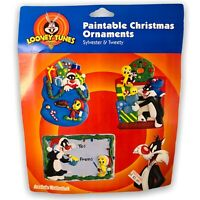 Retro Looney Tunes Paintable Christmas Ornaments Sylvester Cat & Tweety Bird WB