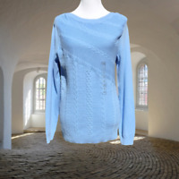 Kim Rogers Womens Cableknit Sweater S Pullover Stretch Long Sleeve Blue