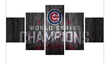Large Framed World Series Baseball Chicago Cubs Five Piece Canvas Print Wall Art