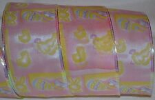 Wired Ribbon~Easter Egg~Peep~Bunny~Pink~Yellow~Almost 10yd Roll~Wreath~Gift~Bow