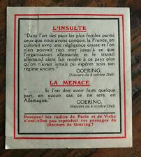 Tract 1942 gommé - Discours de Goering du 04 octobre 1942 L'Insulte La menace