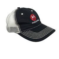 Motorola Adj Mesh Back Hat Baseball Cap OSFM Black Off White Embroidered Front