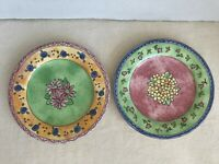 "2 Sango Watercolors Salad Plates 7.75"" Blueberry Strawberry Sue Zipkin EUC"