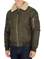 Schott Men's Padded Bomber Jacket Pilot Fur Collar Jacket ( FANTASTIC QUALITY )