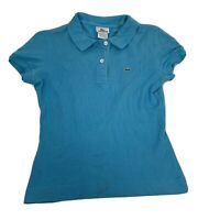Lacoste Devanlay Ladies Polo Shirt Blue  Sz 38 Small 10 Short Sleeve Tshirt