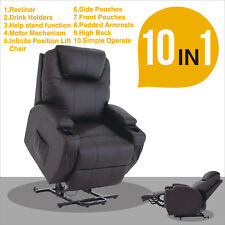 Kenwell Power Lift Chair Recliner Armchair Real Leather Wall Hugger Lounge Seat