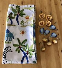 Zoo Animal Cloth Shower Curtain and Hooks