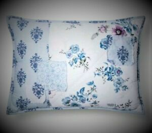 NEW SIMPLY SHABBY CHIC BLUE DASCHA PATCHWORK FLORAL DECORATIVE THROW BED PILLOW