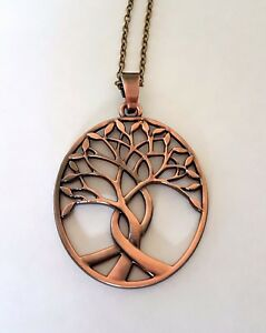 """large tree of life boho chic pendant oval antique copper bronze 20"""" or 30"""" chain"""
