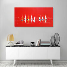 Tableau peinture originale, peinture marine, bateau et mer, déco rouge +châssis