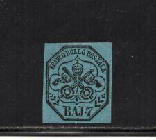 1852 ITALY ROMAN STATES SA# 8, 7b MNH, GREAT MARGINS $11850.00