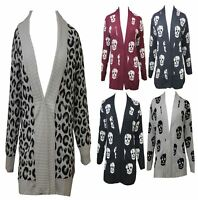 NEW WOMENS OPEN FRONT WATERFALL SKULL SWEATER LADIES LONG KNITTED TOP CARDIGAN