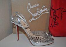 Christian Louboutin Metallic St Jeanette 120 Peep Toe Spike Silver Sandal 6.5