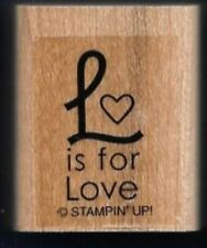 L is for LOVE HEART gift tag words Wedding Card STAMPIN' UP! wood  RUBBER STAMP