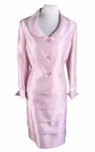 KASPER Women 2 PC Stunning Rose Tiered Skirt Suit Size 14
