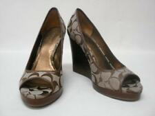 NIB COACH TABBY KHAKI/TOB SIGNATURE JACQUARD WEDGE SHOES 8M STYLE A0200