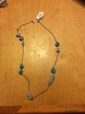 """Lucky BRAND Turquoise Delight Station Silver Tone Illusion 34"""" Long Necklace"""