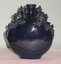 Antique Vintage 1920s Ceramic Chinese crawling Dragon Handle moon-flask Vase