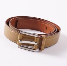 New $295 SANTONI Mustard Tan Soft Calf Leather Dress Belt 40 W