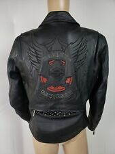 Harley Davidson Mens Medium Leather Embroidered Eagle Vented Racer Jacket