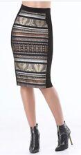 Bebe Paisley Patchwork Skirt Size 0