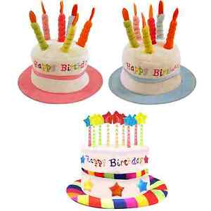 Happy Birthday Cake Hat Plush Velvet Party Crown Coloured Candles Fancy Dress