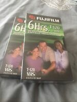 2 FUJI FILM T-120 6 Hour EP MODE Recordable Blank VHS Video Tapes NEW