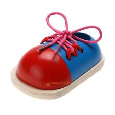 1pcs Funny Educational Development wooden toys Baby kids Children lacing shoes