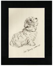 More details for sealyham terrier original 1937 dog art sketch print by lucy dawson mac matted