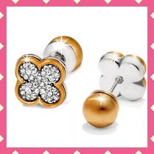 Brighton MASSANDRA FLOWER Earrings Crystal Gold REVERSIBLE Earrings NWT $44
