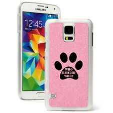 For Samsung Galaxy S3 S4 S5 Glitter Bling Case Cover Paw Print Who Rescued Who?