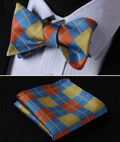 BC4008G Olive Orange Blue Check Silk Men Woven Self Bow Tie Pocket Square Set