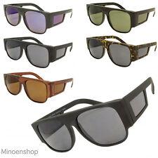 Large Side Shield Black Square Flat Top Pilot Style Sunglasses 80s VTG Steampunk