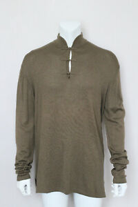 SHANGHAI TANG khaki green wool mandarin knit jumper sweater pullover L Large