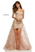 Sherri Hill Lace Evening Dress Rose Gold Size 2 Engagement Party Ball Gown